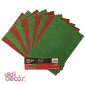 10 fogli A4 glitterati rossi e verdi
