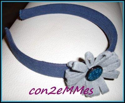 Diadema Flor Azul y Gris