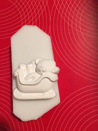 Stampo silicone NON ALIMENTARE orsetto con slitta