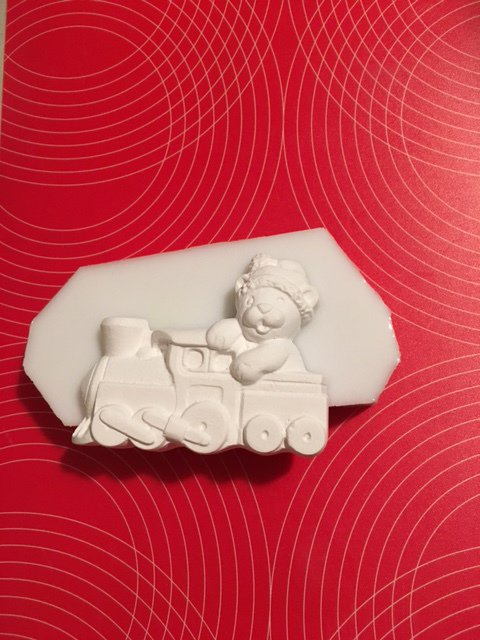 Stampo silicone NON ALIMENTARE orsetto con locomotiva