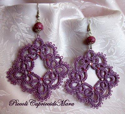 Orecchini (viola) al chiacchierino, perla e strass rosa