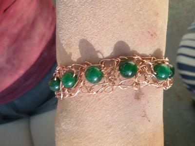 Braccialetto con perle vetro verde