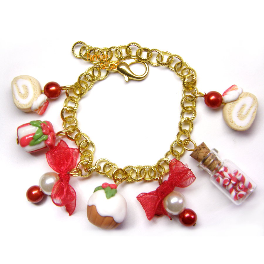 Braccialetto Natale candy cupcake kawaii idea regalo fimo ragazza donna