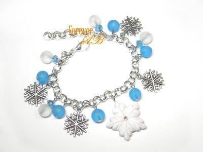 Braccialetto Natale fiocchi di neve regalo fimo ragazza donna