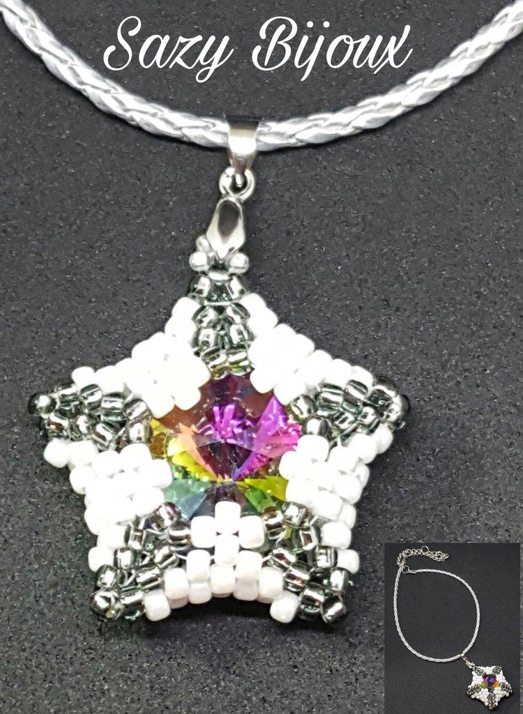 Ciondolo STELLA DI CRISTALLO in tessitura di perline con Cristallo Multicolore