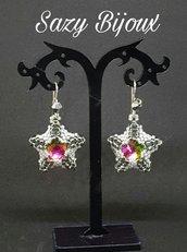 Orecchini STELLA DI CRISTALLO in tessitura di perline con Cristallo Multicolore