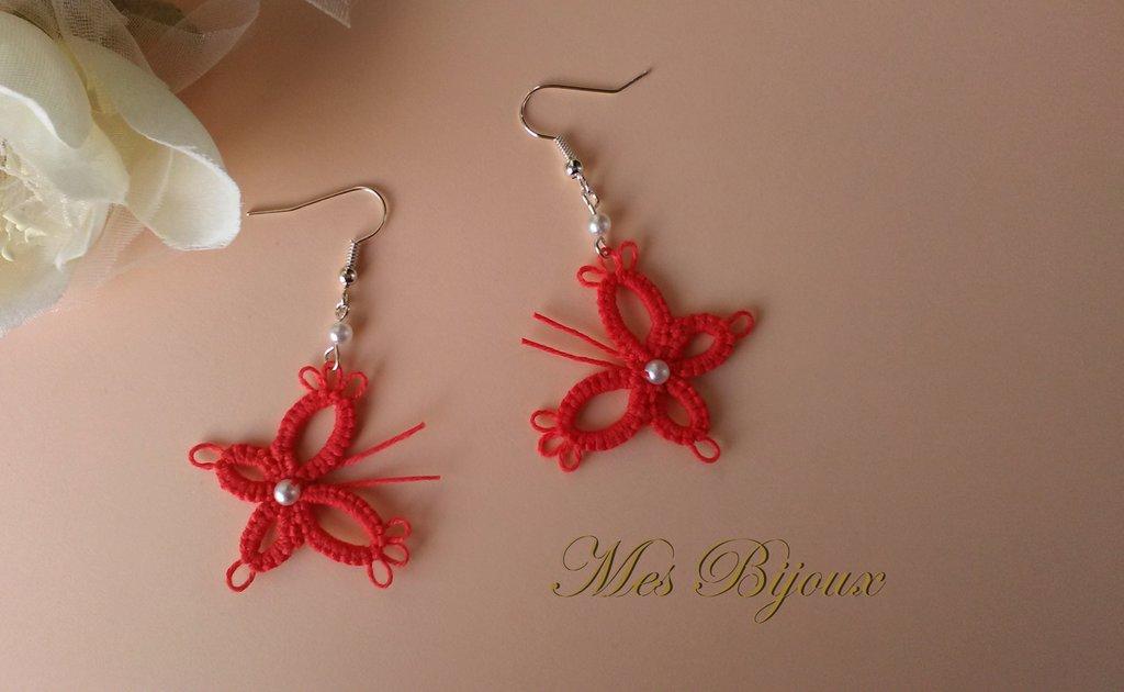 Orecchini moda chiacchierino pizzo farfalla idea regalo Natale