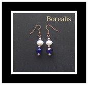 Orecchini pendenti in perle d'acqua, perle di Boemia e mezzi cristalli