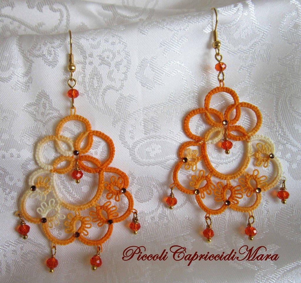 Orecchini (gialli) al chiacchierino, cristalli arancioni