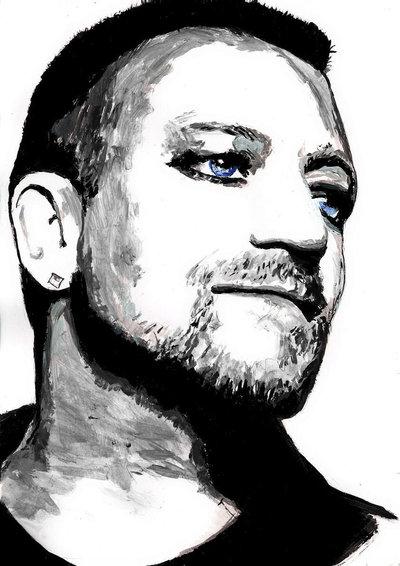 Ritratto acrilico Bono Vox u2
