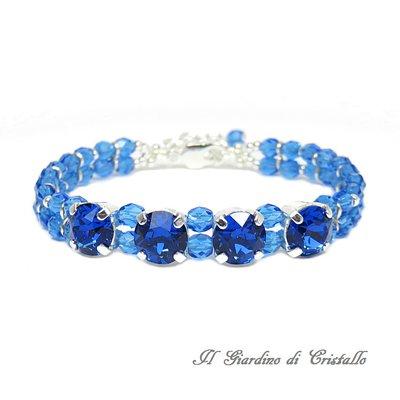 Bracciale blu Capri cristalli Swarovski e mezzi cristalli elegante fatto a mano - Ibisco