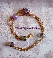Bracciale con perla lilla, perla in vetro, cristalli rosa