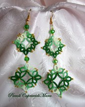 Orecchini verdi al chiacchierino, cristallo verde, perline dorate