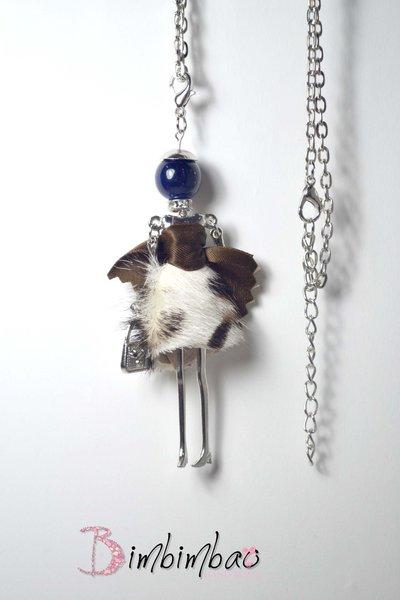bambola bambolina collana lunga necklace doll perla tonda blu ciondolo ciondolino regalo natale
