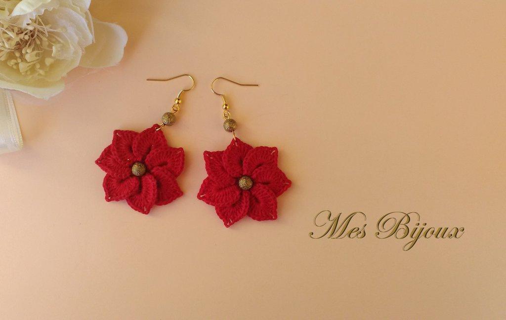 Orecchini moda pizzo uncinetto idea regalo donna  ragazza Natale fiore rosso