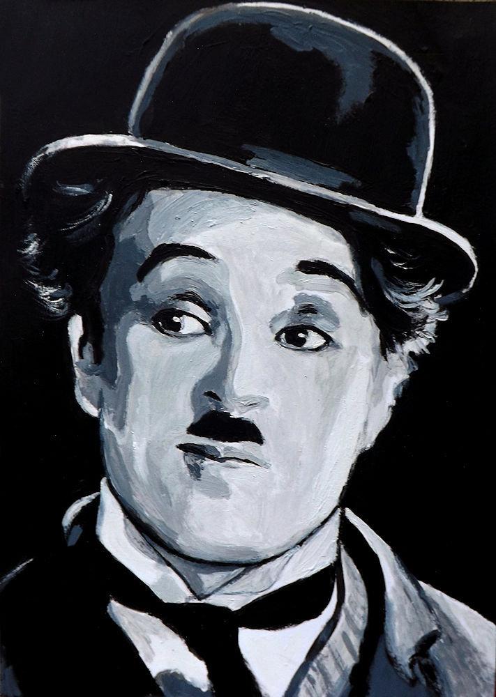 Ritratto di Charlot Charlie Chaplin in stile pop art dipinto a mano cinema