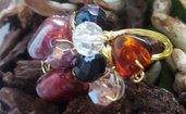 Anello handemade, tecnica wire con cristalli e perle di vetro violetto
