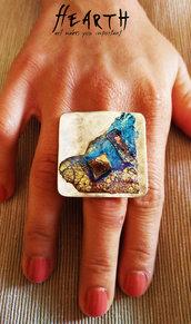 Anello design unico al mondo con cristalli di bismuto puro
