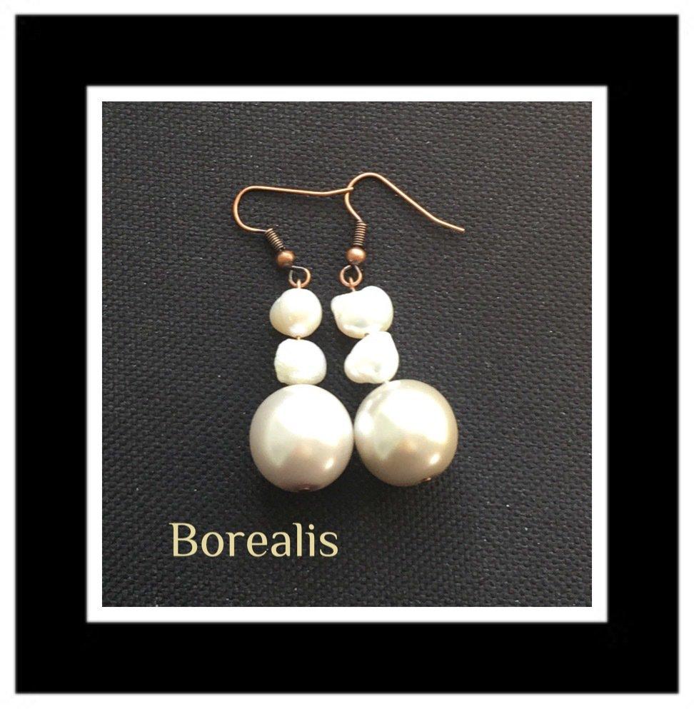 Orecchini in perle d'acqua e perle di Boemia