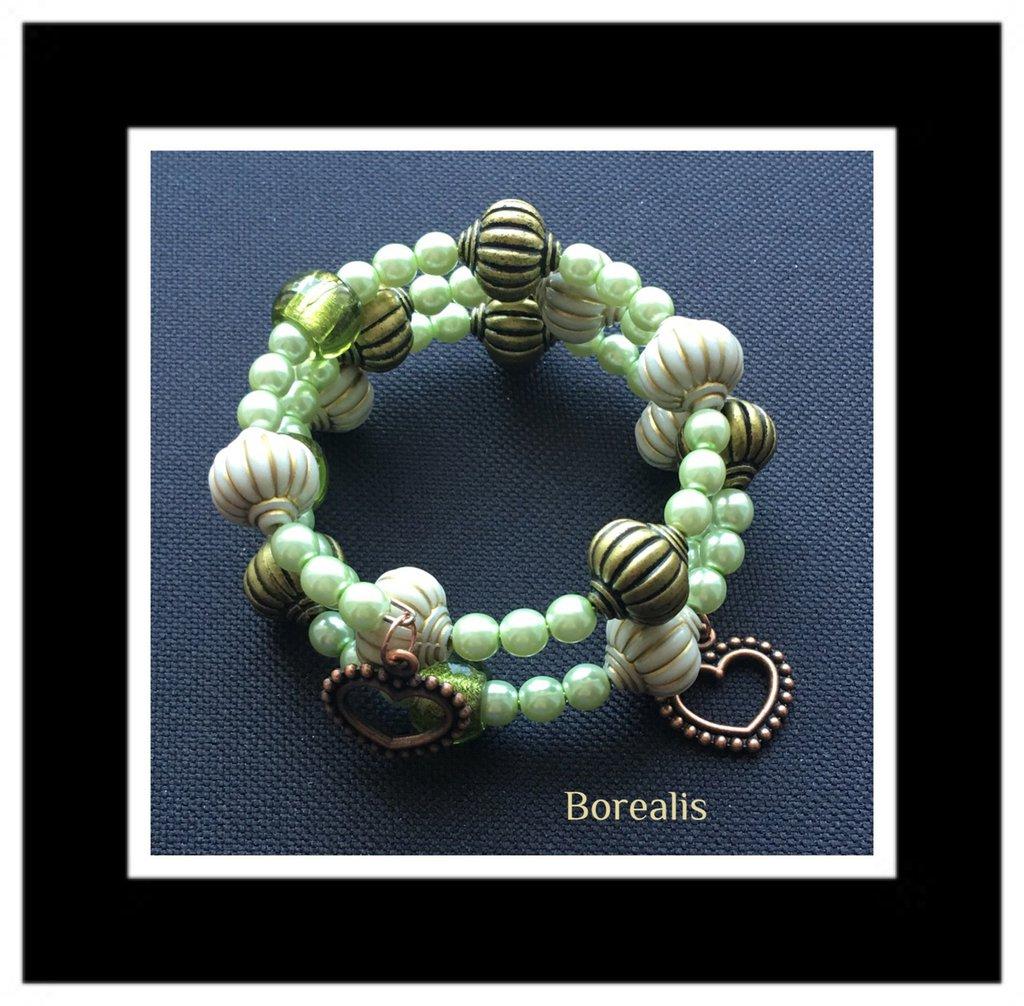 Bracciale armonico in perle di Boemia e perle di vetro