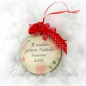 """Medaglione """"il nostro primo Natale insieme"""" per sposi"""