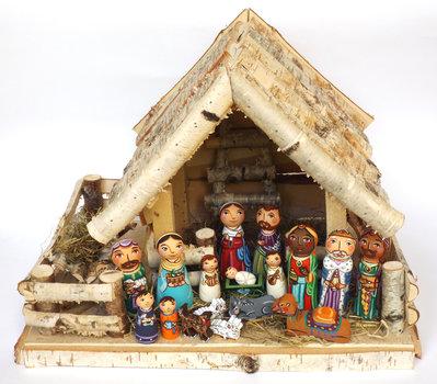 Presepe Decorazione di Natale Sacra Famiglia Ornamento di legno Natività Idea regalo di Natale