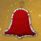 Fuoriporta Natale campana natalizia tela Aida ricamabile da ricamare puntocroce