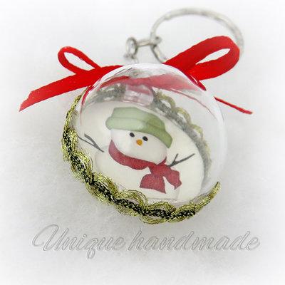 Portachiavi natalizio con pupazzo di neve