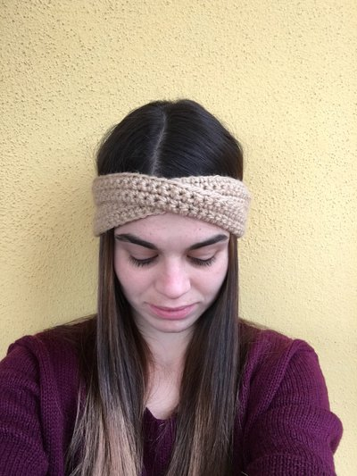 fascia capelli incrociata di lana donna paraorecchie inverno