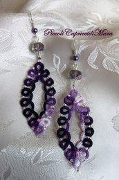 Orecchini (viola) al chiacchierino, cristalli e perline viola