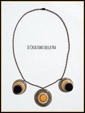 Collana girocollo con CIONDOLI rotondi IN CARTONCINO RICICLATO - giallo e nero