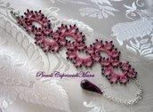 Bracciale rosa al chiacchierino, pendente in pasta di mais, perline