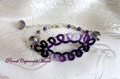 Bracciale (viola) al chiacchierino, cristalli e perline viola