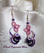 Orecchini (lilla e viola) al chiacchierino, perline viola e argentate, strass