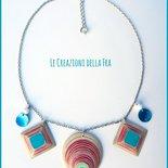 Collana girocollo con CIONDOLI, rotondo e quadrati, IN CARTONCINO RICICLATO - bianco, turchese e fucsia