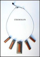 Collana girocollo con CIONDOLI rettangolari IN CARTONCINO RICICLATO - nero, bianco e rame