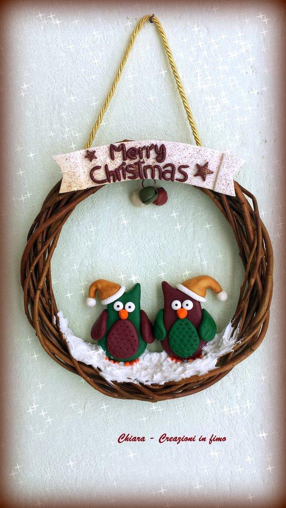 Idea regalo Natale Ghirlanda in fimo natalizia gufi babbo natale