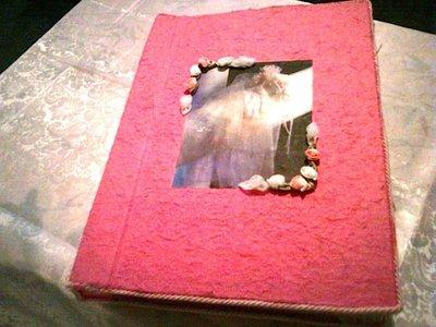Album da matrimonio rosa con decorazioni