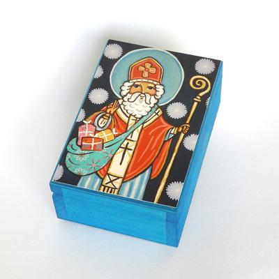 Babbo Natale Addobbi di Natale Scatola Legno Feste natalizie Decorazione di Natale