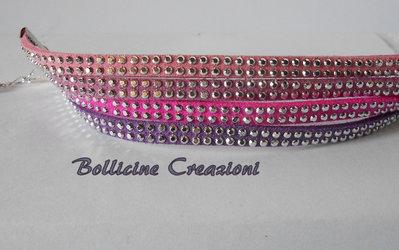 Bracciale  4 fili in alcantara con borchie colori viola/rosa/fucsia/rosa antico