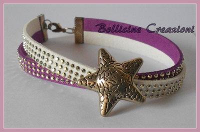Bracciale in alcantara borchie luminoso viola e bianco con perla intermezzo maxi stella con chiusura a moschettone