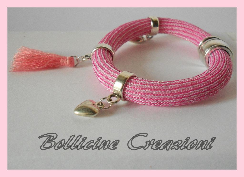 Bracciali pomposi glitter color rosa/verde e marrone con charms e nappine con chiusura a calamita