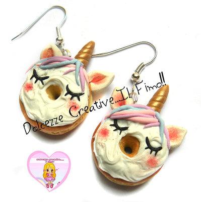 Orecchini Donut - Ciambella UNICORNO! - pastel goth kawaii