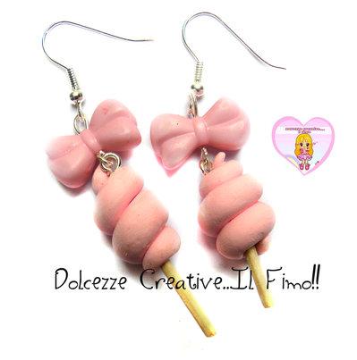 Orecchini Zucchero filato rosa - con perla fiocco . kawaii handmade