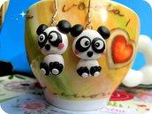 Orecchini Panda Fimo Fatti a Mano
