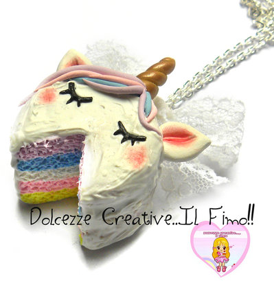 Collana Torta Rainbow - Unicorno - handmade kawaii pastel goth
