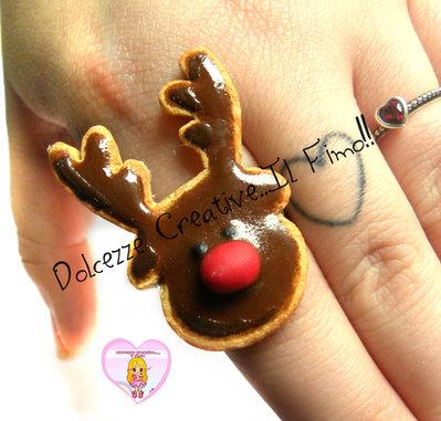 ☃ Natale In Dolcezze 2016 ☃ Anello biscotto glassato Renna - kawaii fimo handmade