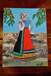 donna in costume sardo