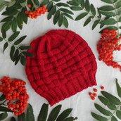 Berretto fatto a mano in pura lana merino rosso mattone, nome : Basket hat