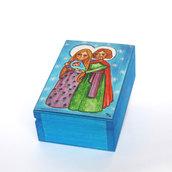 Scatola Legno Sacra Famiglia Addobbi di Natale Regalo di Natale Feste natalizie Decorazione di Natale